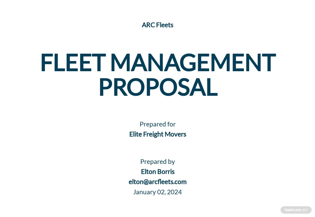 Fleet Management Proposal Template
