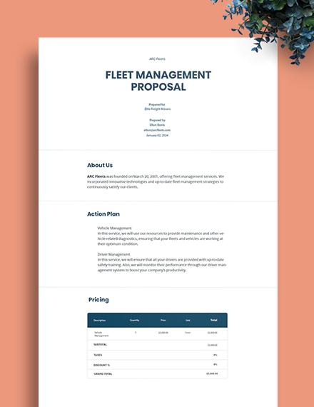 Fleet Management Proposal Template