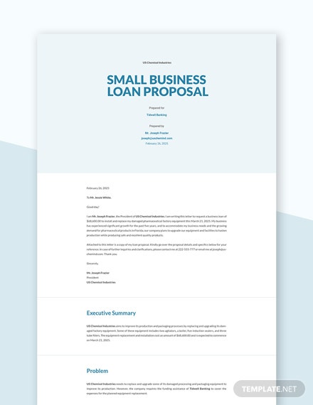 Editable Small Business Loan Proposal