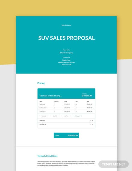 Editable one page sales proposal