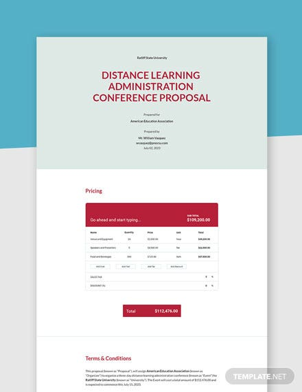 One Page Event Proposal Template