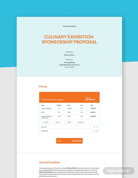 One Page Sponsorship Proposal Template