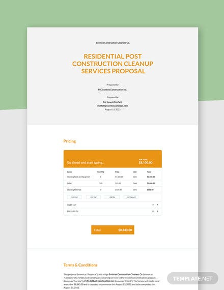Editable one page service proposal