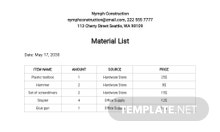 Free Material List Template