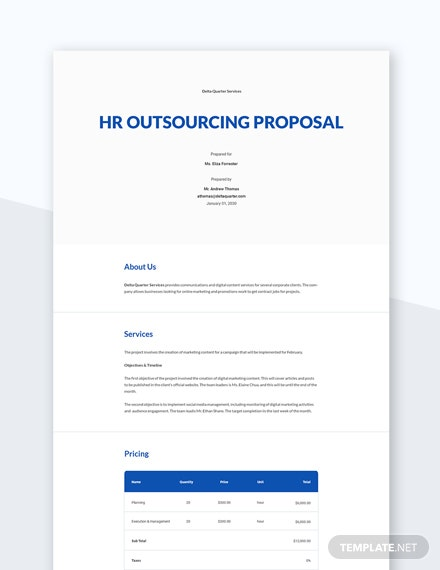Editable HR Outsourcing Proposal Template