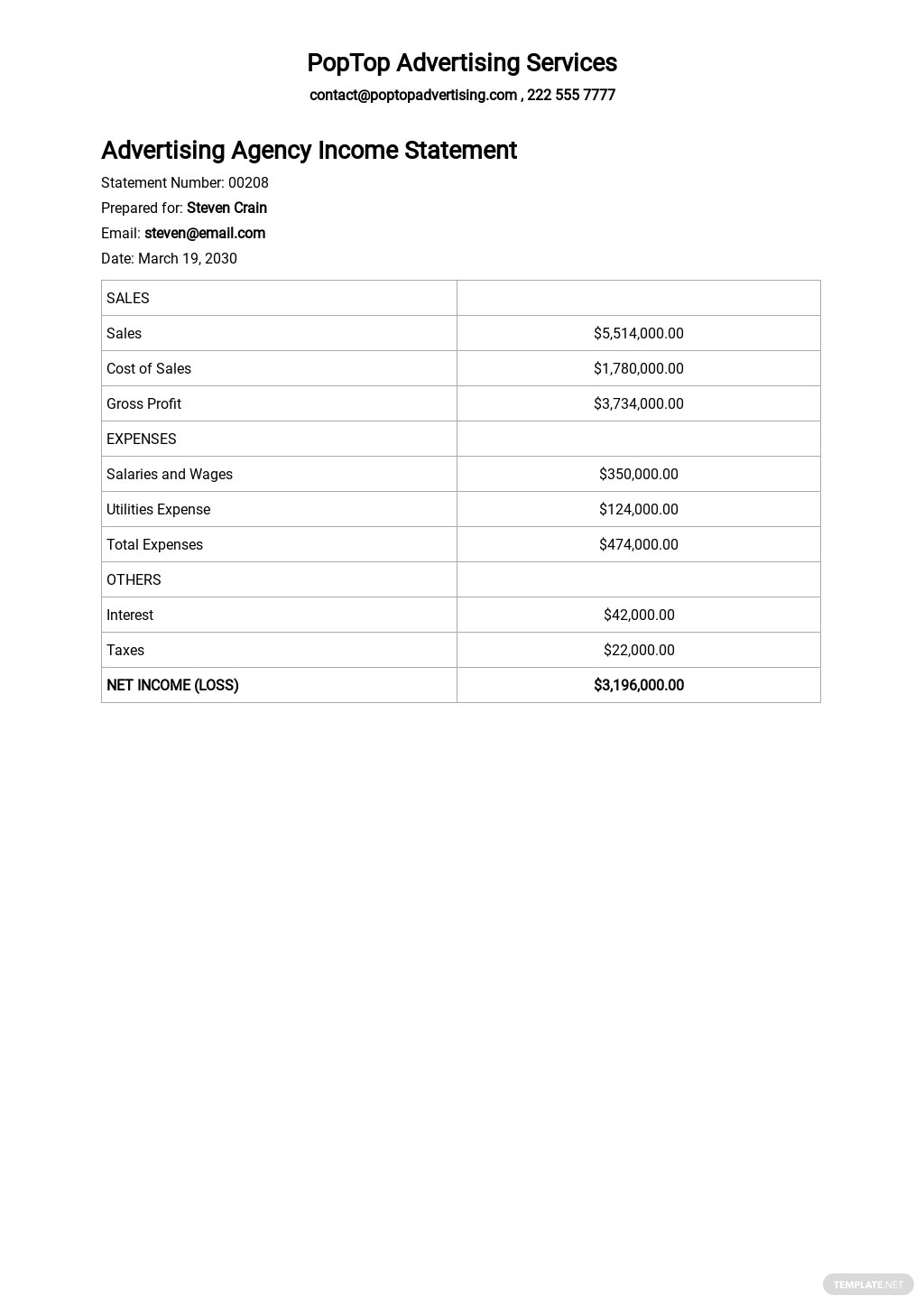 Advertising Agency Income Statement template