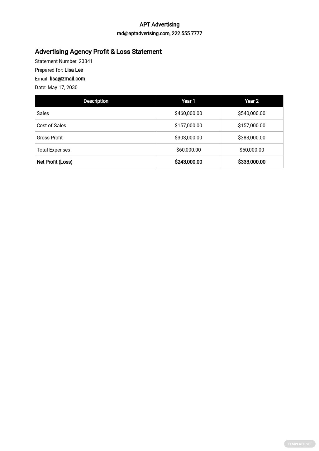 Advertising Agency Profit and Loss Statement Template