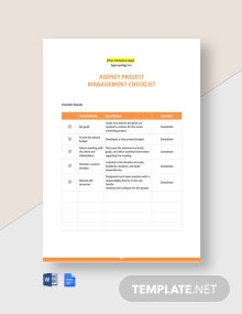 Agency Project Management Checklist Template