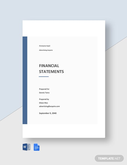 Financial Statement for Advertising Agency Template