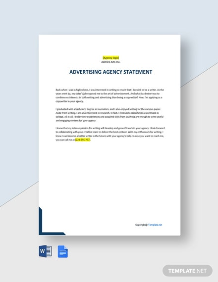 Free Simple Advertising Agency Statement Template
