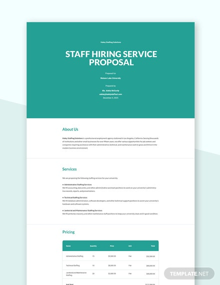 Staff Hiring Service Proposal Template