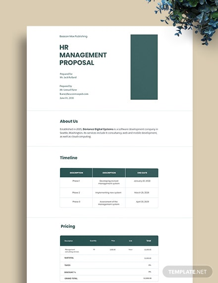 Proposal for HR Management System Template
