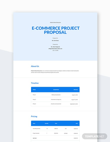 E-Commerce Project Proposal Template