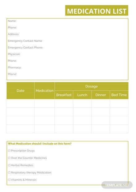 Medication List Template