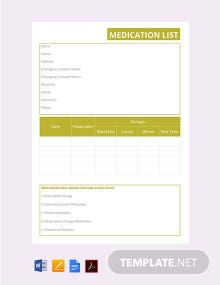 Free Medication List Template