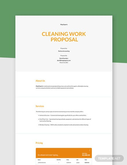 Cleaning Work Proposal