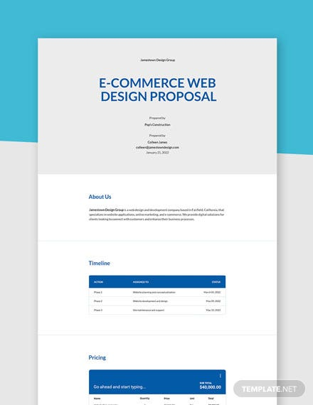E Commerce Web Design Proposal Template