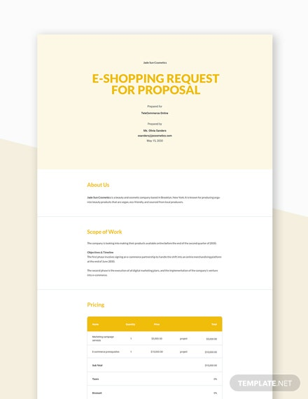 Editable ECommerce Request For Proposal