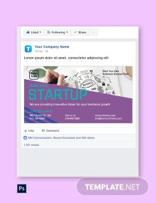 Free Startup Facebook Post Template
