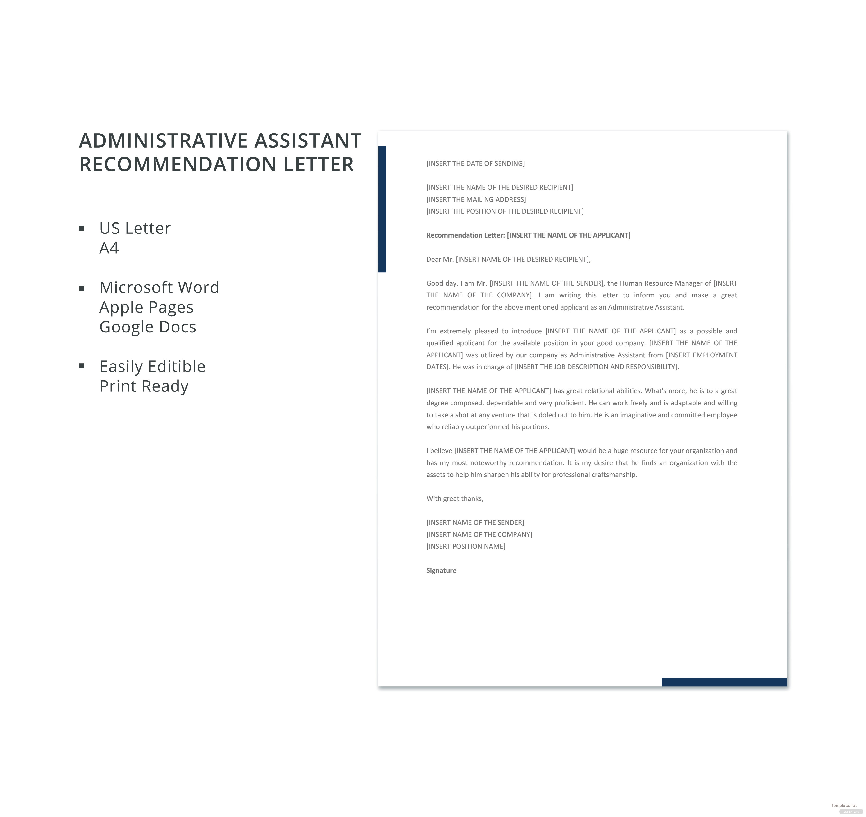 recommendation letter for administrative assistant