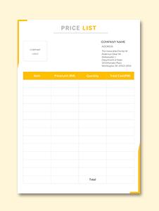 Price List Template