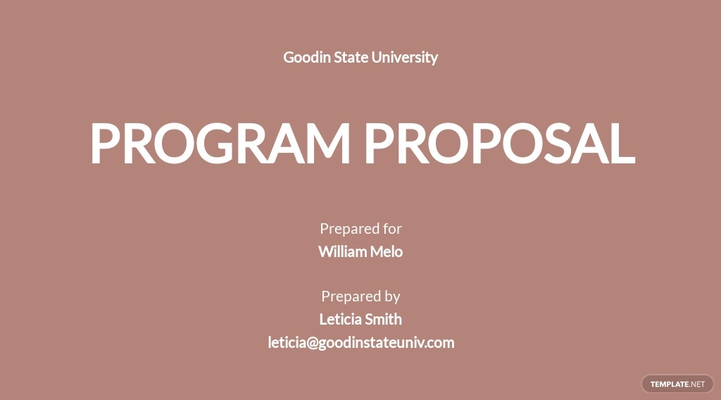 Simple Program Proposal Template