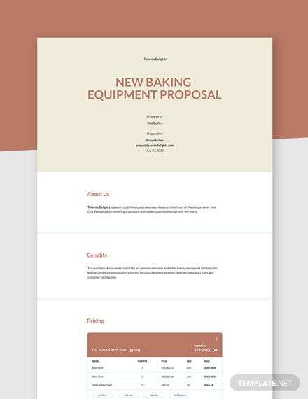 New Purchase Proposal Template