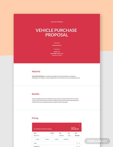 Vehicle Purchase Proposal Template