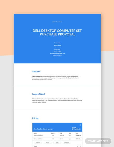 Computer Purchase Proposal Template