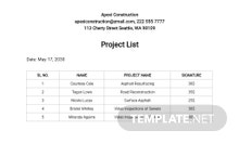 Free Project List Template