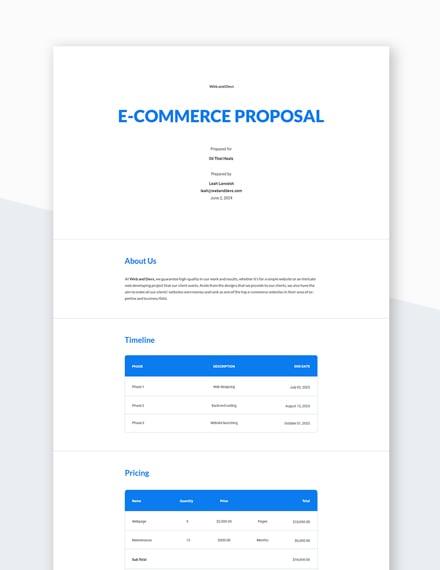 E-commerce Proposal Template