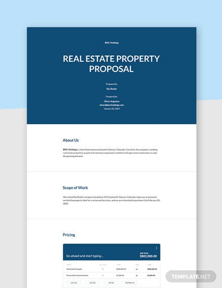 Editable real estate purchase proposal