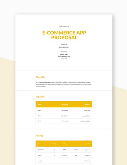 E-commerce App Proposal Template