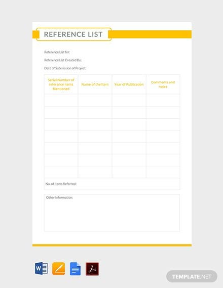 Free Reference List Template