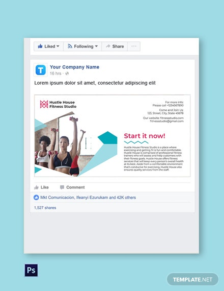 Free Fitness Studio Facebook Post Template
