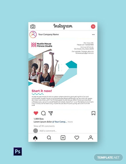 Free Fitness Studio Instagram Post Template