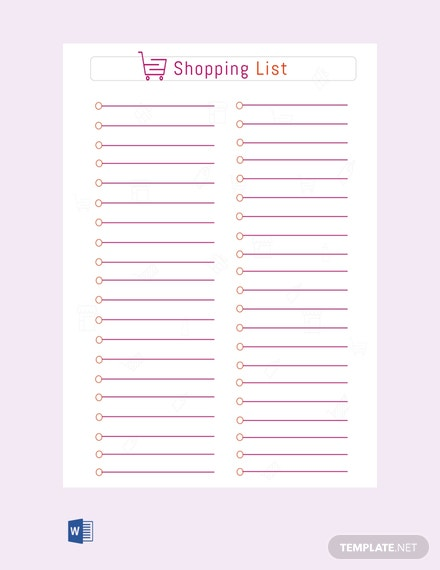 Free equipment list template download 23 lists in word for Grocery list template for mac