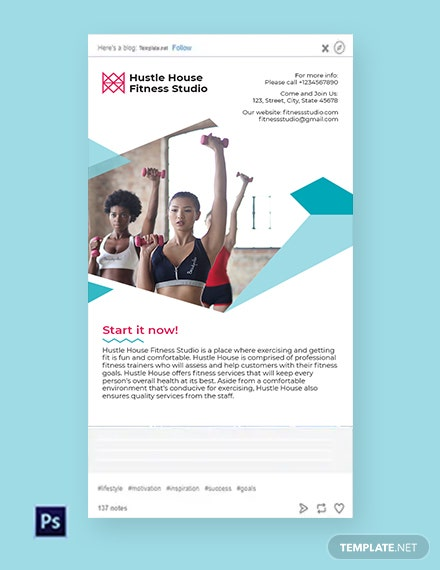 Free Fitness Studio Tumblr Post Template