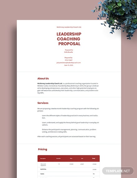Leadership Coaching Proposal Template