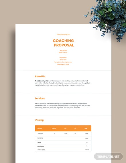 Free Coaching Proposal Template