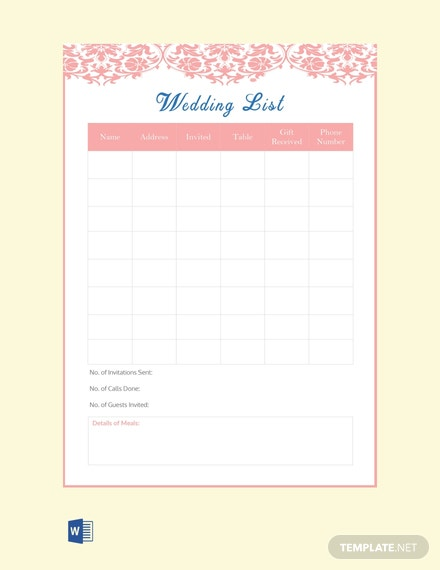 Free Wedding List Template