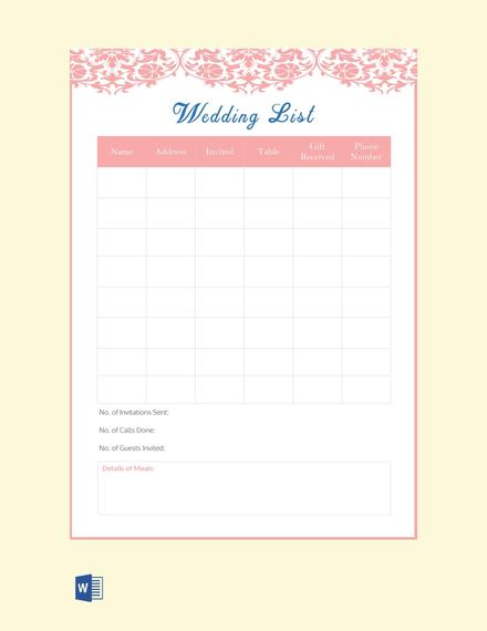 Free Wedding List Template