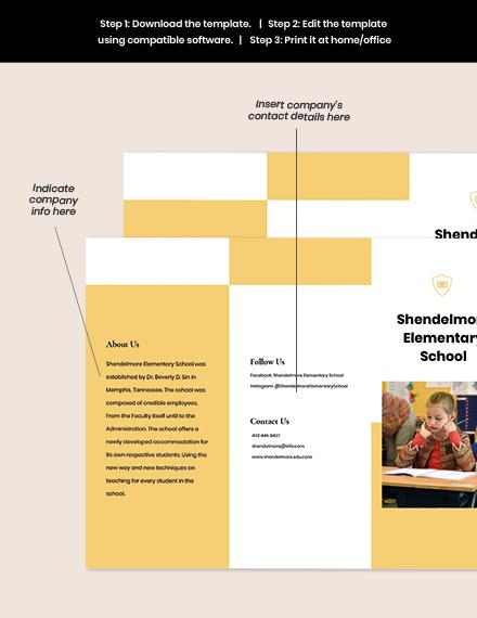 Trifold Elementary School Brochure Template sample