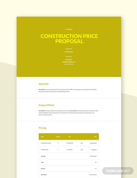 Construction Price Proposal Template