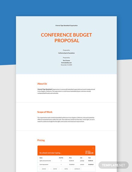 Conference Budget Proposal Template