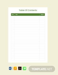 Free Blank Table of Contents Template