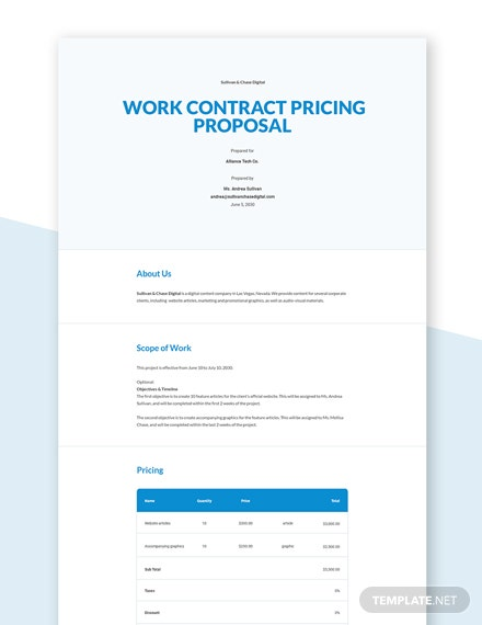 Contract Pricing Proposal Template