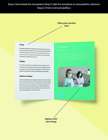Bifold Nursing School Brochure Template Snippet