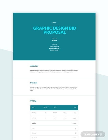 Graphic Design Bid Proposal Template