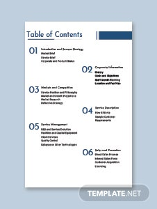 Business Plan Table of Contents Template
